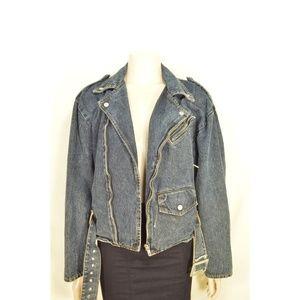 Jordache jeans jacket Vintage M denim Moto style